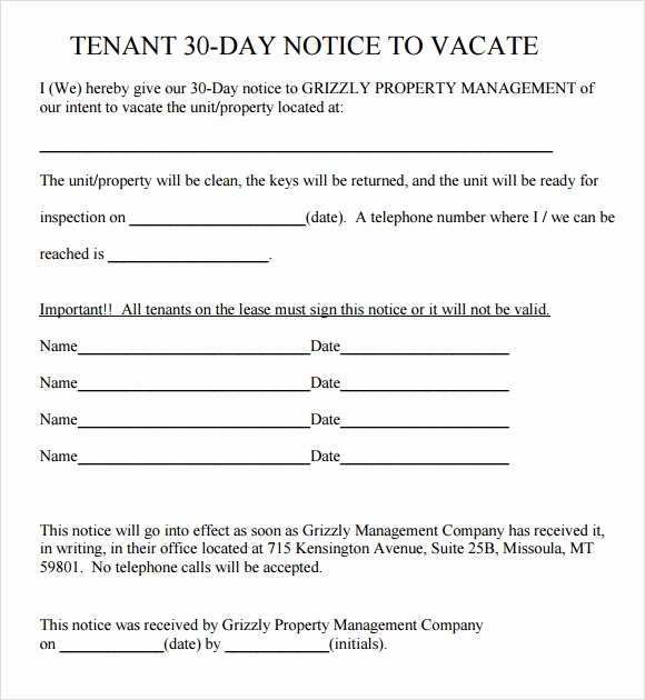 30 Day Notice California Template Inspirational 30 Day Notice to Vacate Template