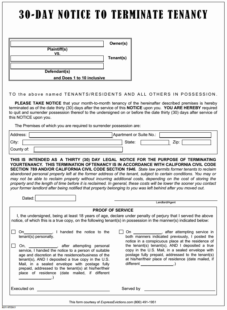 30 Day Notice California Template Inspirational Free California Eviction form Pdf Template