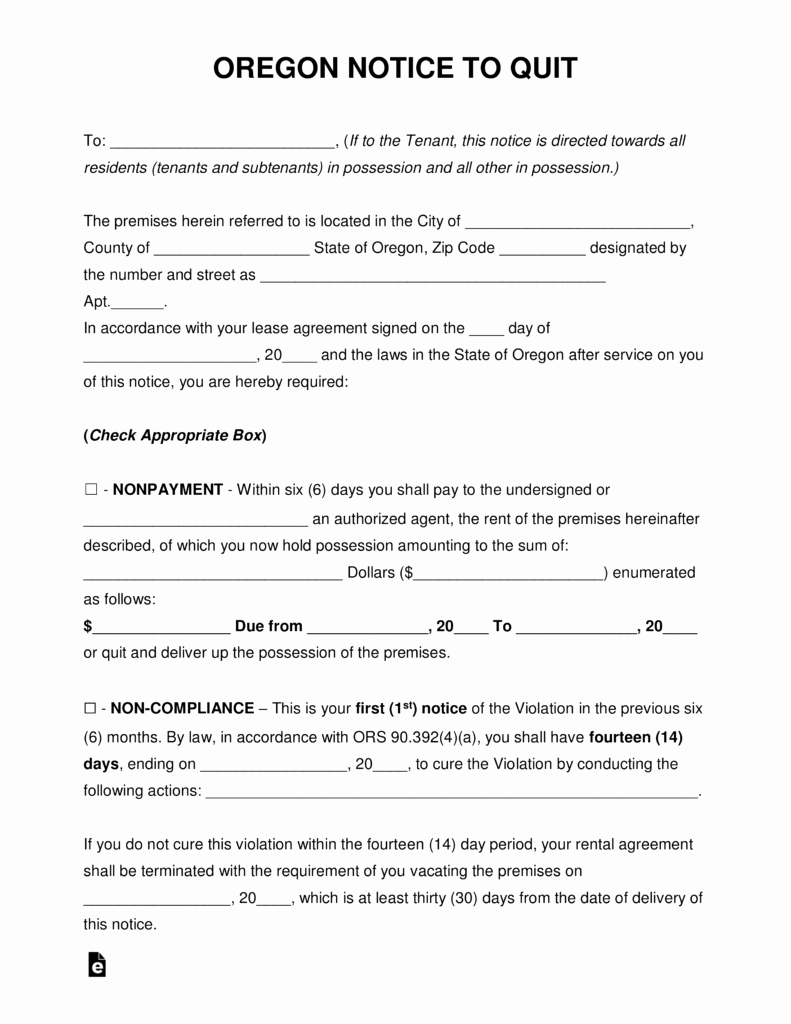 30 Day Notice oregon Template Elegant Free oregon Eviction Notice forms