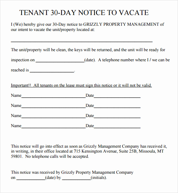 30 Notice to Vacate Template Awesome Free 11 30 Day Notice Templates In Pdf