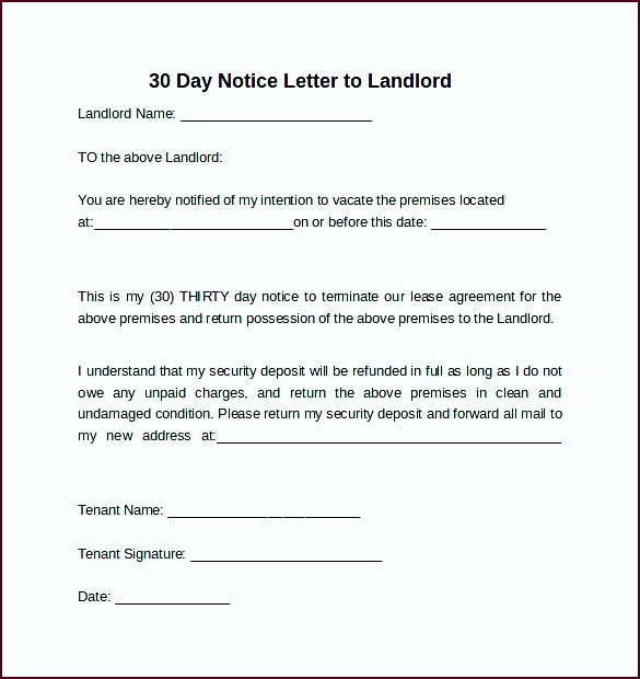 30 Notice to Vacate Template Best Of 5 30 Day Notice to Vacate Letter Template Template