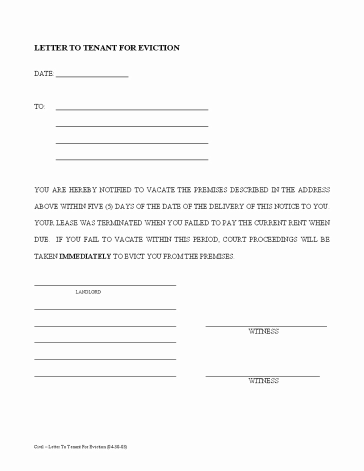 30 Notice to Vacate Template Inspirational Printable Sample Tenant 30 Day Notice to Vacate form In