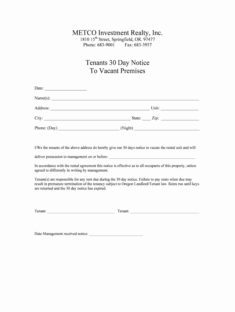 30 Notice to Vacate Template Lovely 30 Day Notice to Vacate Fill Line Printable Fillable
