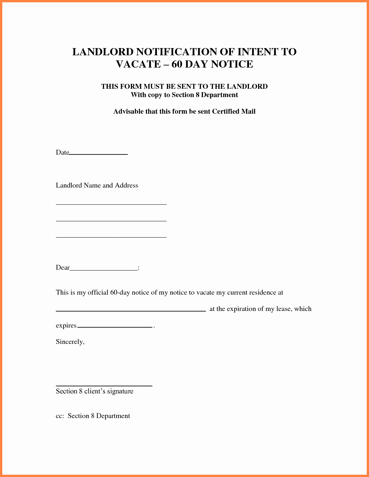 60 Day Eviction Notice Template Best Of 8 30 Day Notice Letter to Landlord Sample