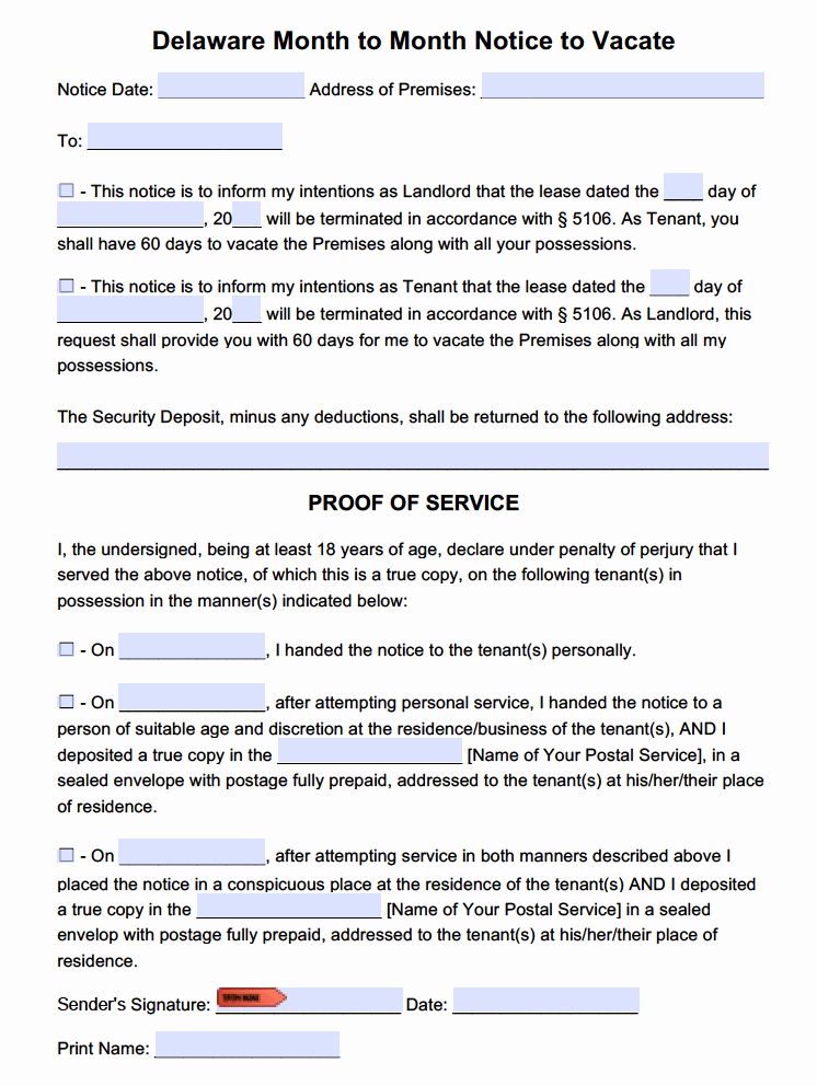 60 Day Eviction Notice Template Lovely Free Delaware 60 Day Notice to Quit
