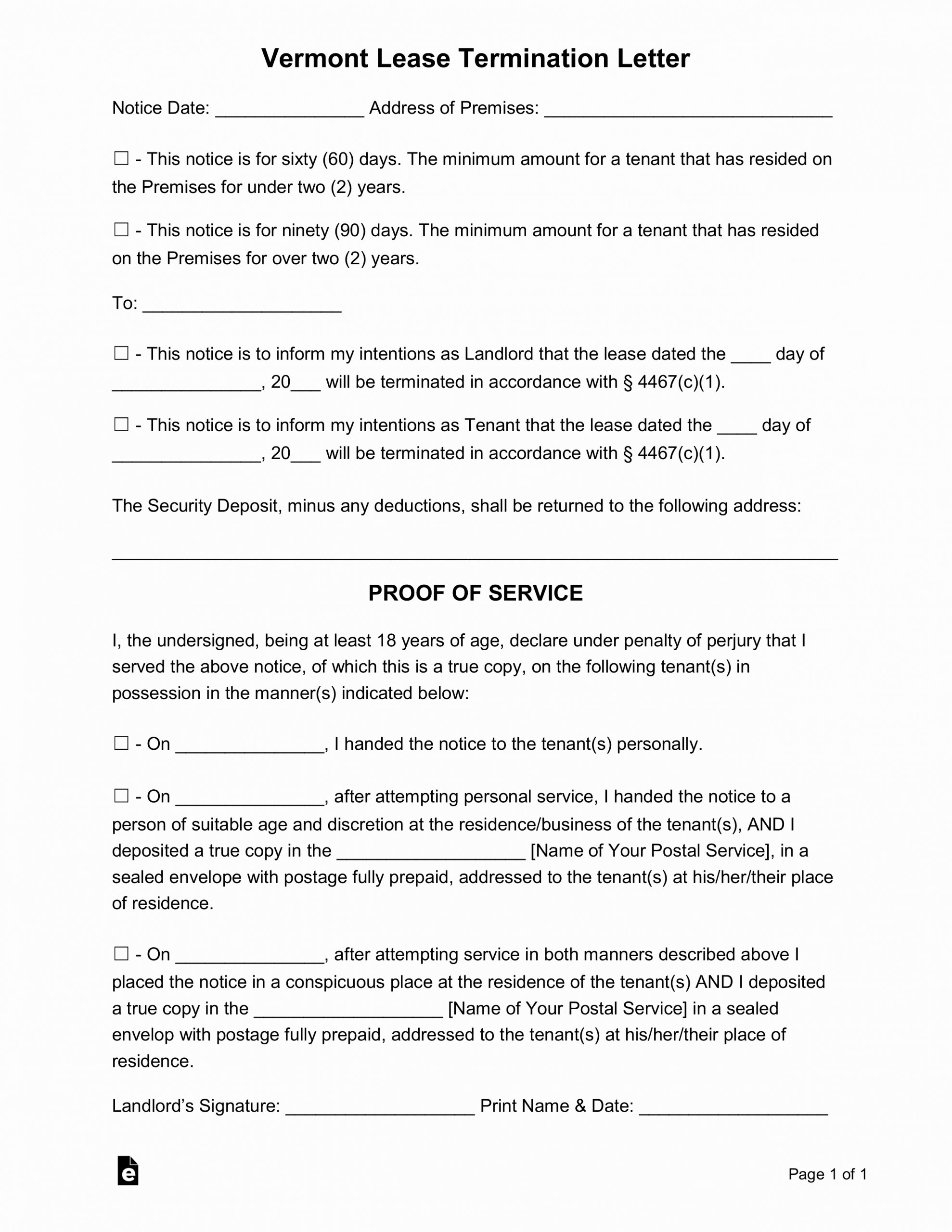 60 Day Eviction Notice Template Lovely Free Vermont Lease Termination Letter form