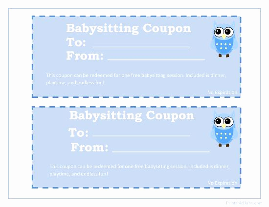 Adams Gift Certificate Template Unique Printable Babysitting Coupon