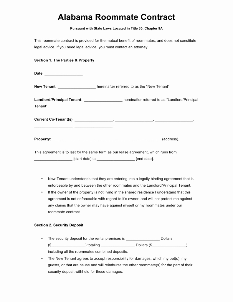 Alabama Eviction Notice Template Awesome Free Alabama Roommate Agreement Template Word