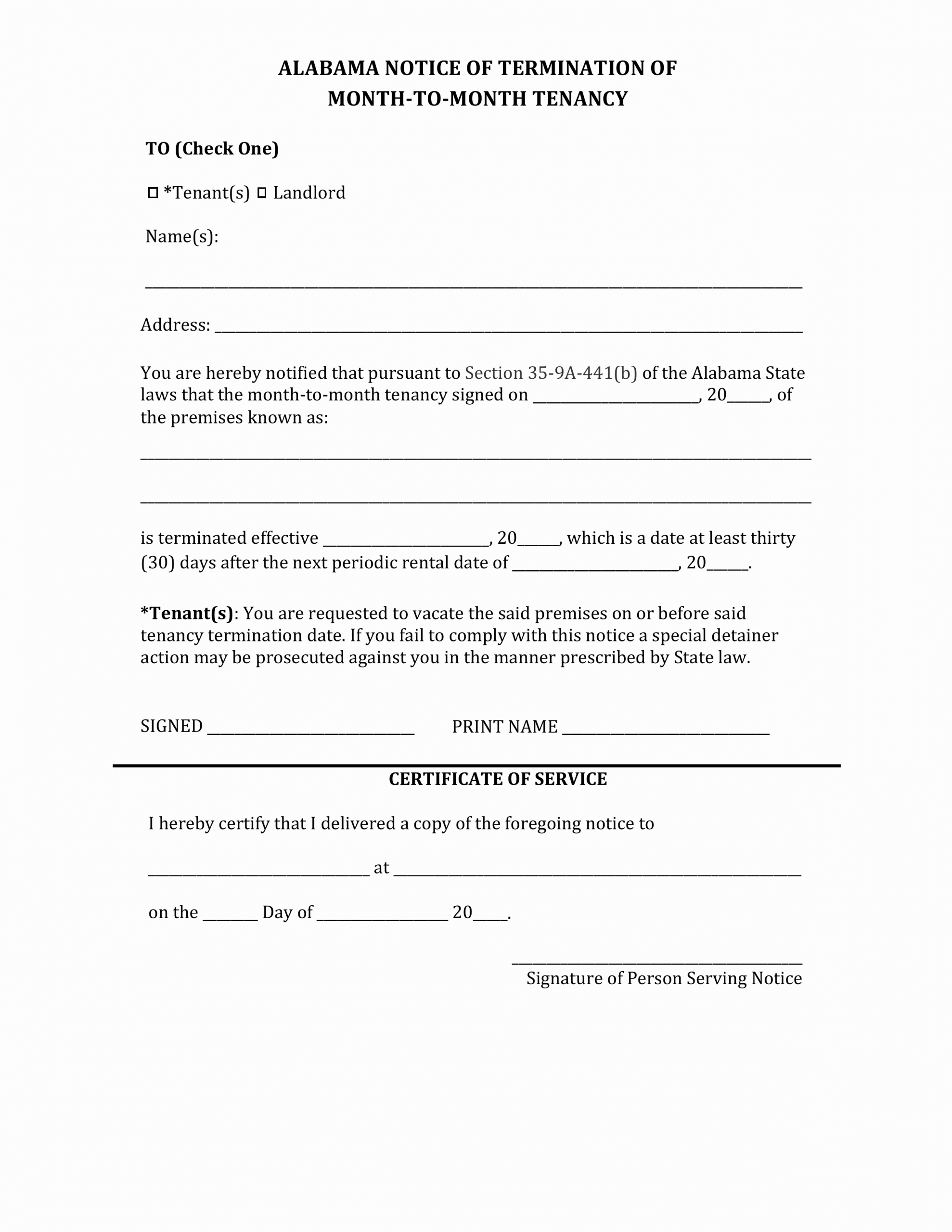 Alabama Eviction Notice Template Unique Alabama Lease Termination Letter form