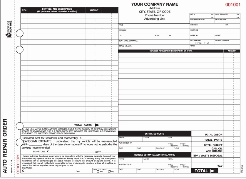 Appliance Repair Invoice Template Awesome 4 Part Auto Repair order forms with Carbon Valid In