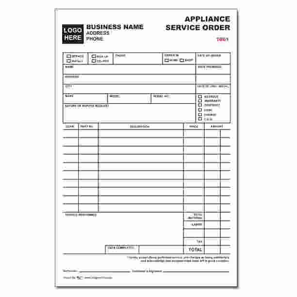 Appliance Repair Invoice Template Fresh Appliance Service order form