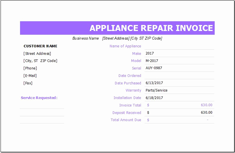 Appliance Repair Invoice Template Luxury Ms Excel Jewelry Invoice Template