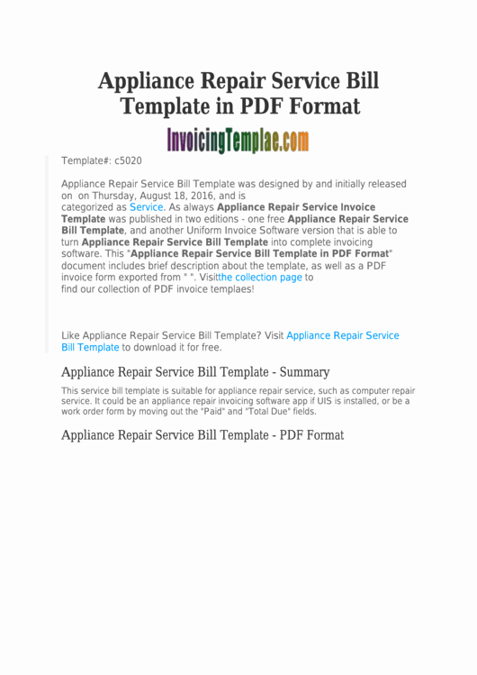 Appliance Repair Invoice Template New top 7 Professional Services Invoice Templates Free to
