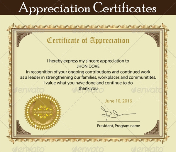Appreciation Certificate Template Free Beautiful 18 Employee Certificate Of Appreciation Designs