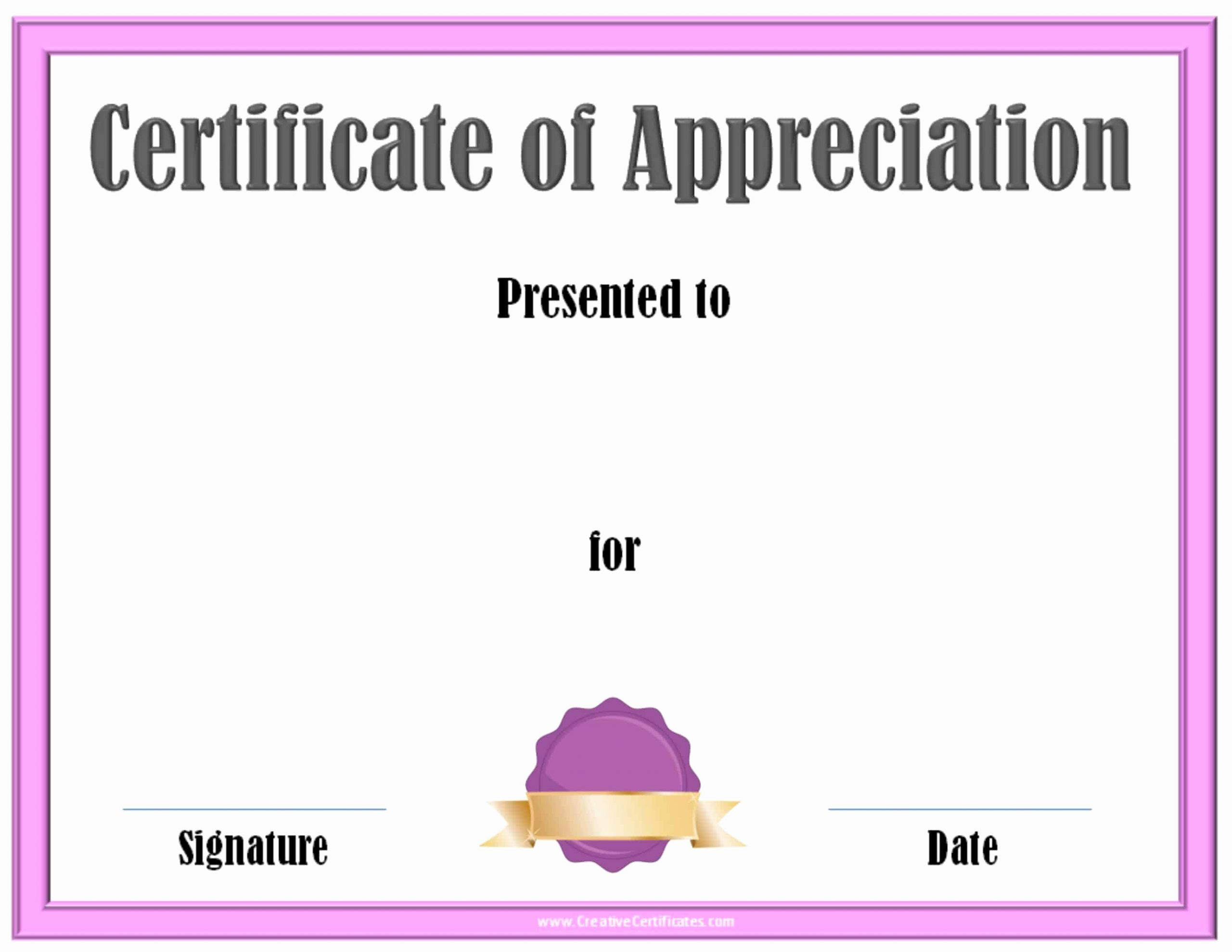 Appreciation Certificate Template Free Best Of Free Certificate Of Appreciation Template