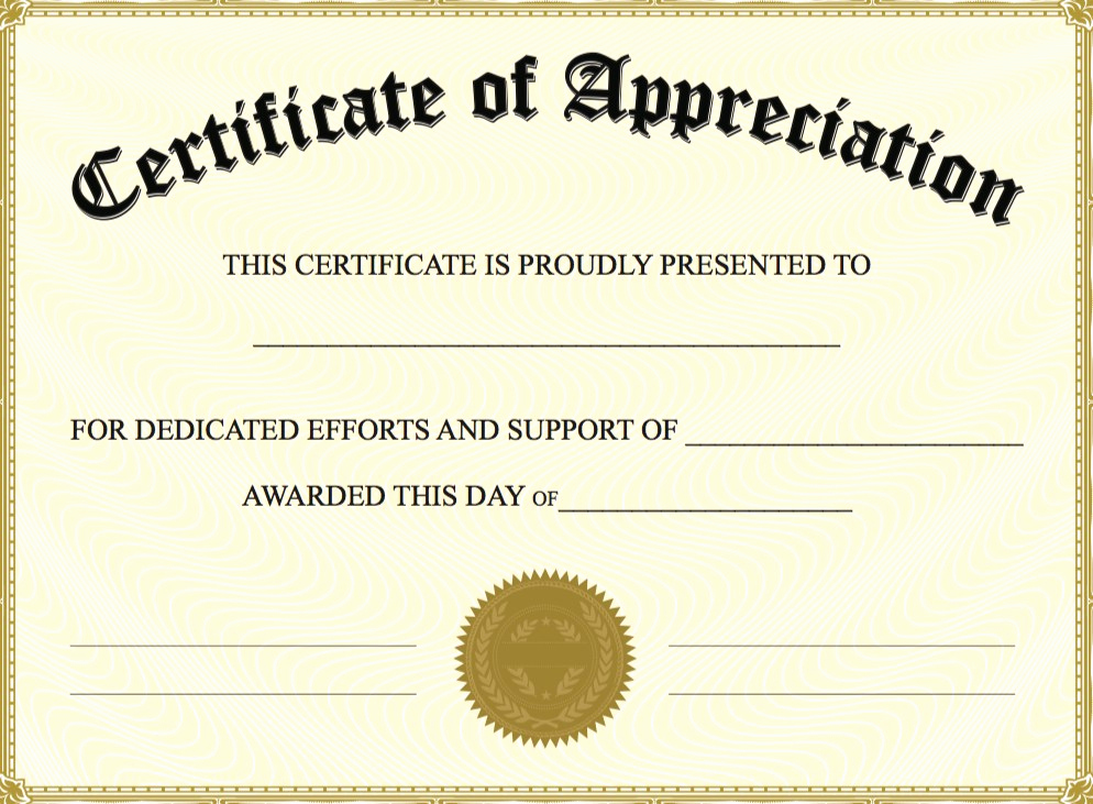 Appreciation Certificate Template Free Fresh Certificate Appreciation Template