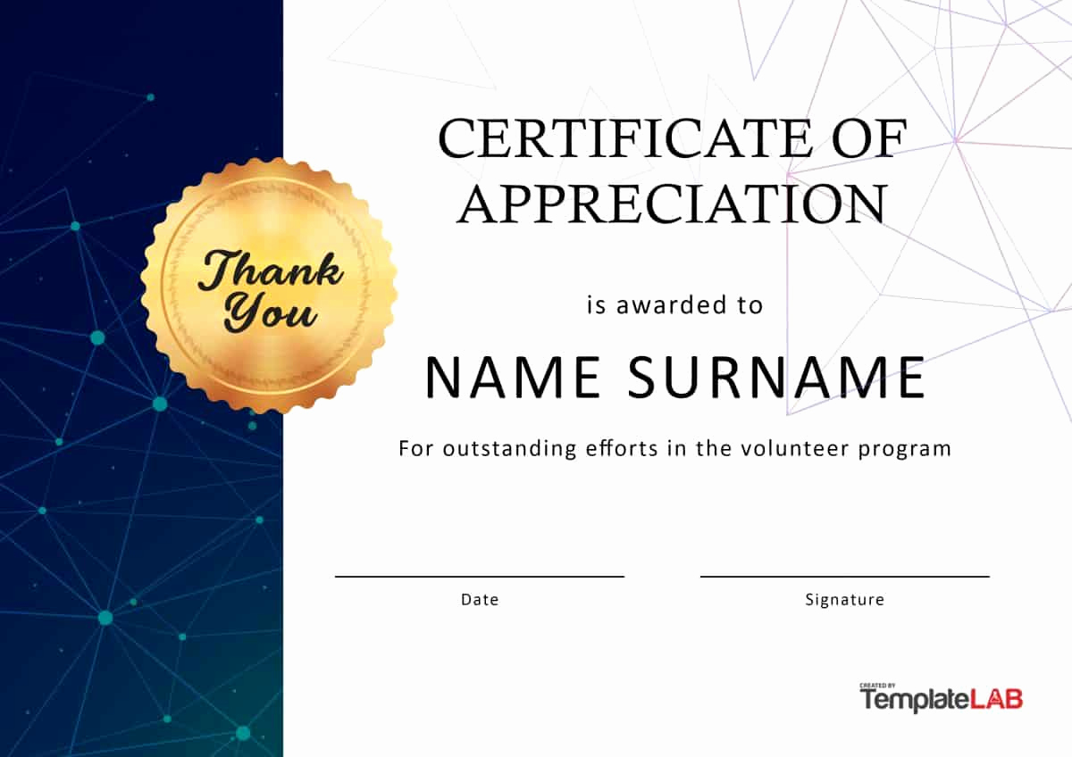 Appreciation Certificate Template Free Inspirational 30 Free Certificate Of Appreciation Templates and Letters