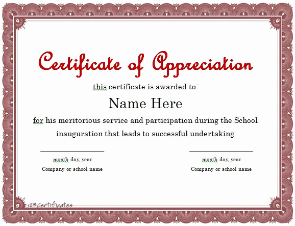 Appreciation Certificate Template Free Inspirational 31 Free Certificate Of Appreciation Templates and Letters