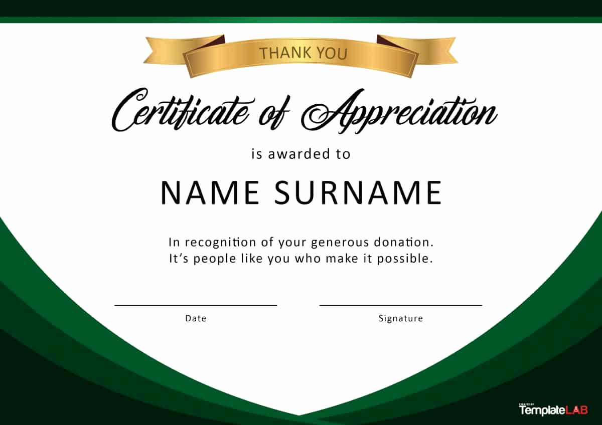 Appreciation Certificate Template Free Lovely 30 Free Certificate Of Appreciation Templates and Letters