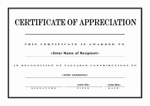 Appreciation Certificate Template Free Lovely Certificates Of Appreciation 004