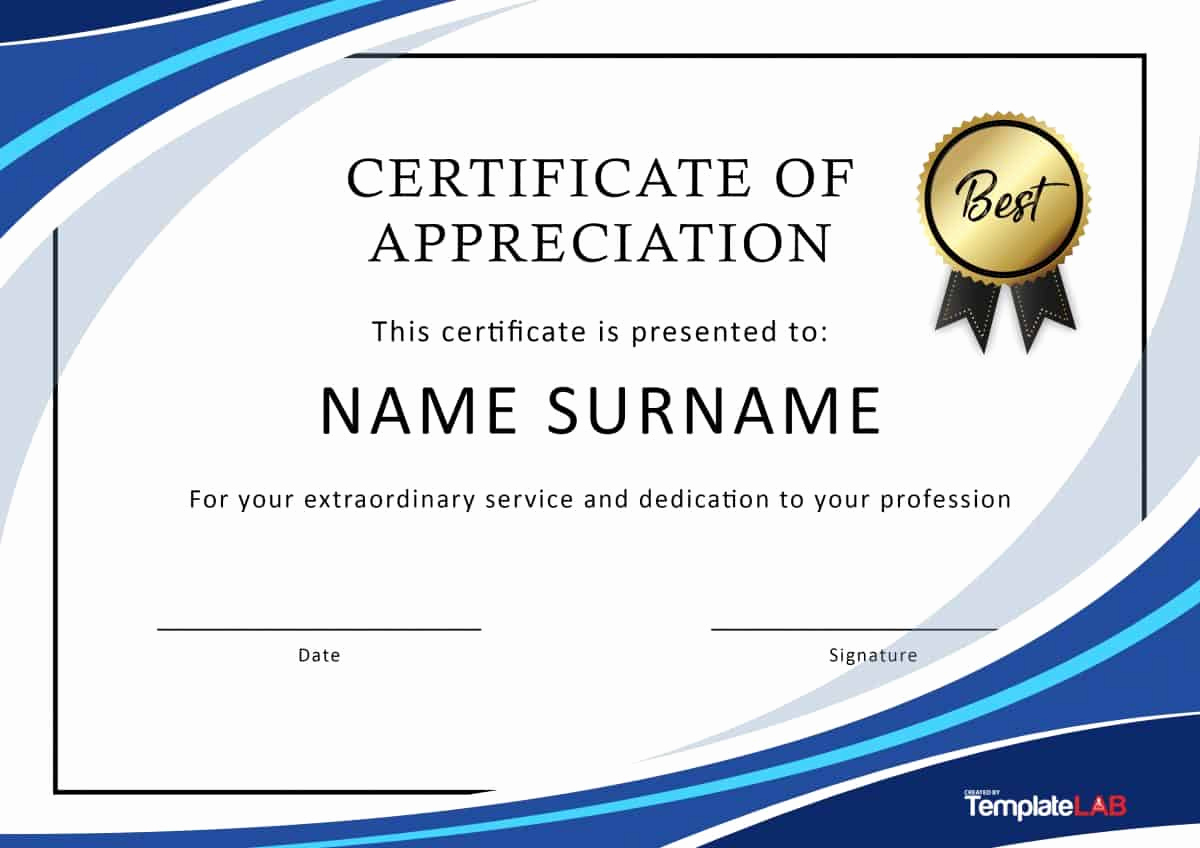 Appreciation Certificate Template Free Luxury 30 Free Certificate Of Appreciation Templates and Letters