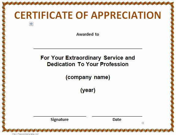 Appreciation Certificate Template Free Unique 31 Free Certificate Of Appreciation Templates and Letters