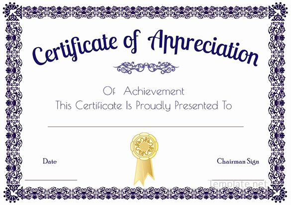 Appreciation Certificate Template Free Unique Certificate Of Appreciation Template Certificate Of
