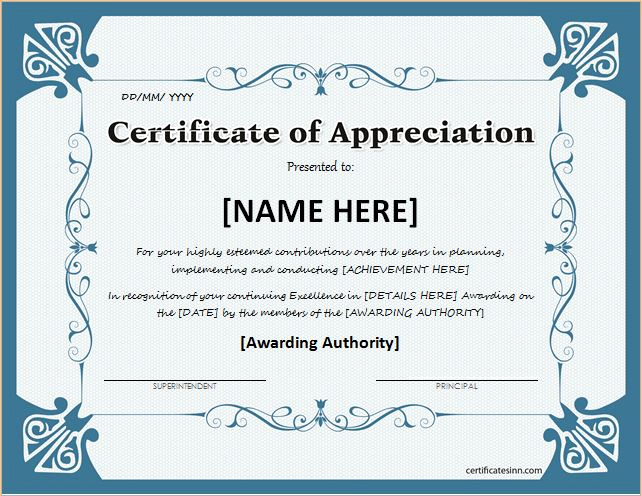 Appreciation Certificate Template Free Unique Certificates Of Appreciation Templates for Word