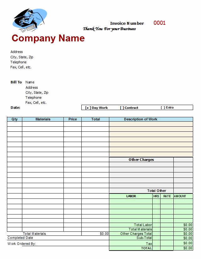 Auto Body Shop Invoice Template Best Of Mechanics Invoice