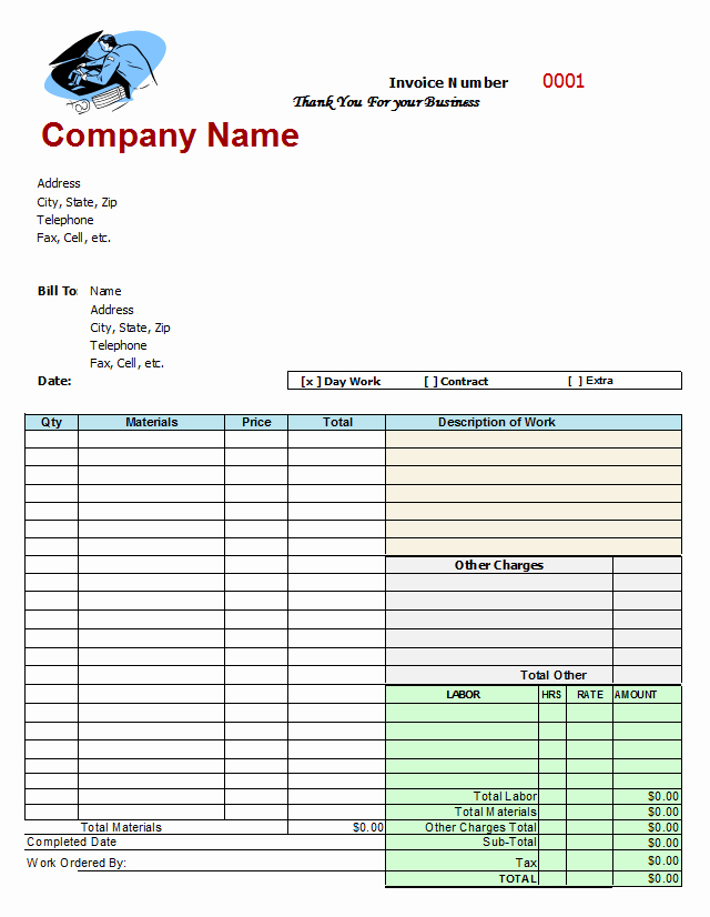 Auto Body Shop Invoice Template Elegant Mechanics Invoice