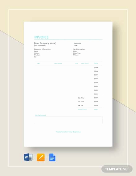 Auto Body Shop Invoice Template Fresh 9 Auto Repair Invoice Templates Free Word Pdf Excel