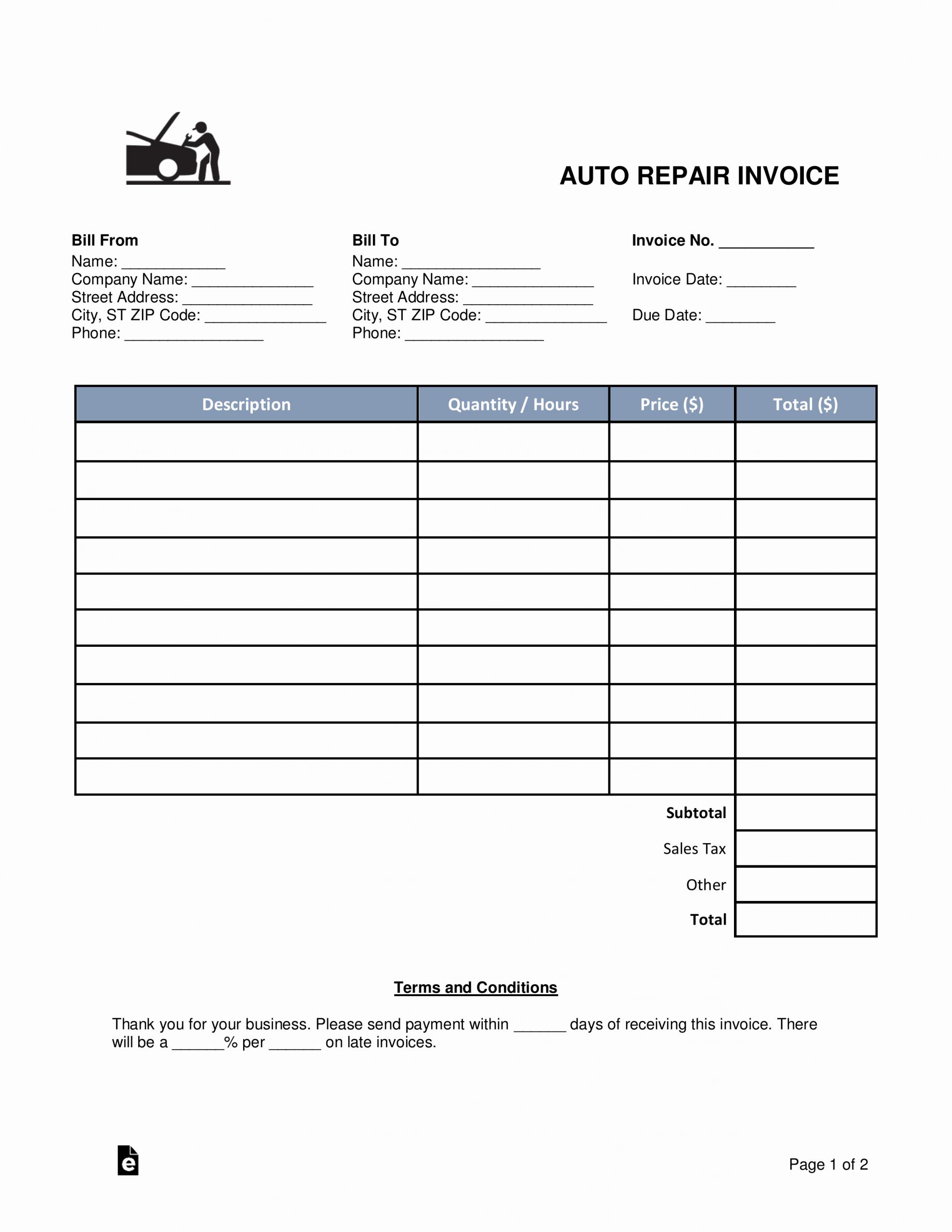 Auto Body Shop Invoice Template Luxury Free Auto Body Mechanic Invoice Template Word