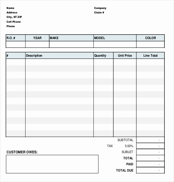 Auto Repair Invoice Template Free Awesome 13 Repair order Templates Google Docs Word