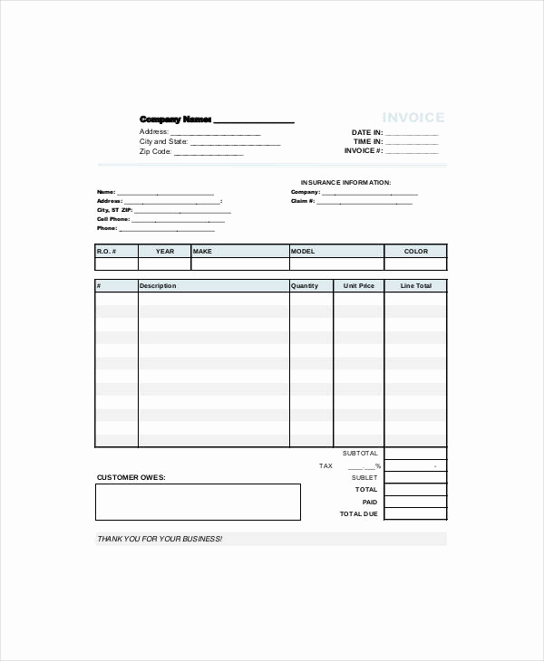 Auto Repair Invoice Template Free Awesome Free 12 Repair Invoice Templates In Pdf Word