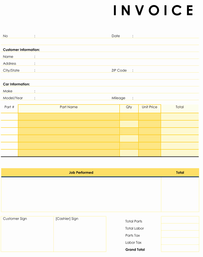 Auto Repair Invoice Template Free Fresh Auto Repair Invoice Templates 10 Printable and Fillable