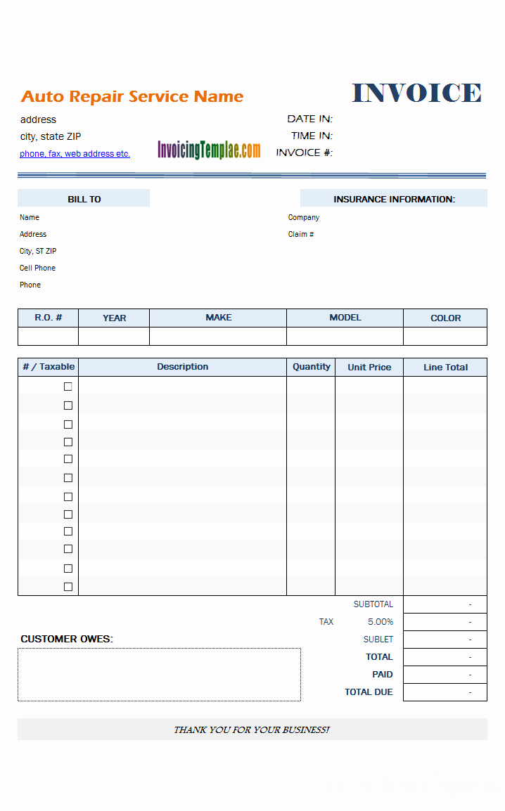 Auto Repair Invoice Template Free New Auto Repair Invoice Template