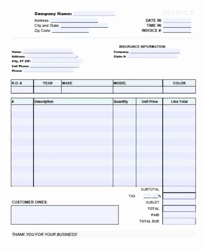 Auto Repair Invoice Template Free New Auto Restoration Spreadsheet Printable Spreadshee Auto