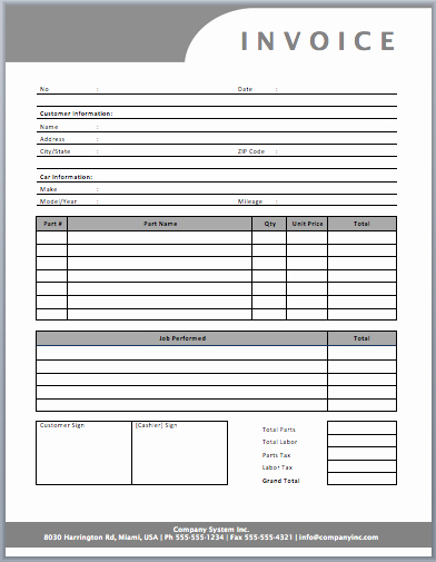 Auto Repair Invoice Template Free Unique Auto Repair Invoice Template