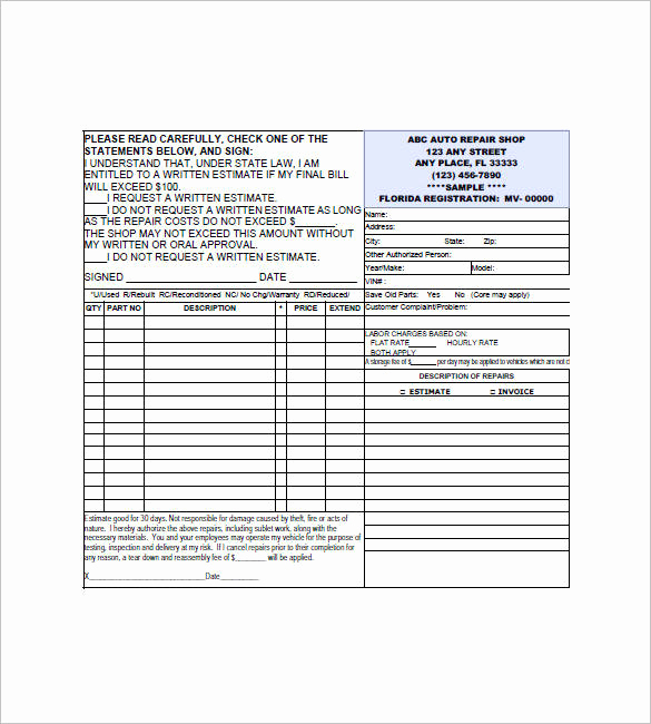 Auto Repair Invoice Template Free Unique Free 20 Small Business Invoice Templates In Google Docs