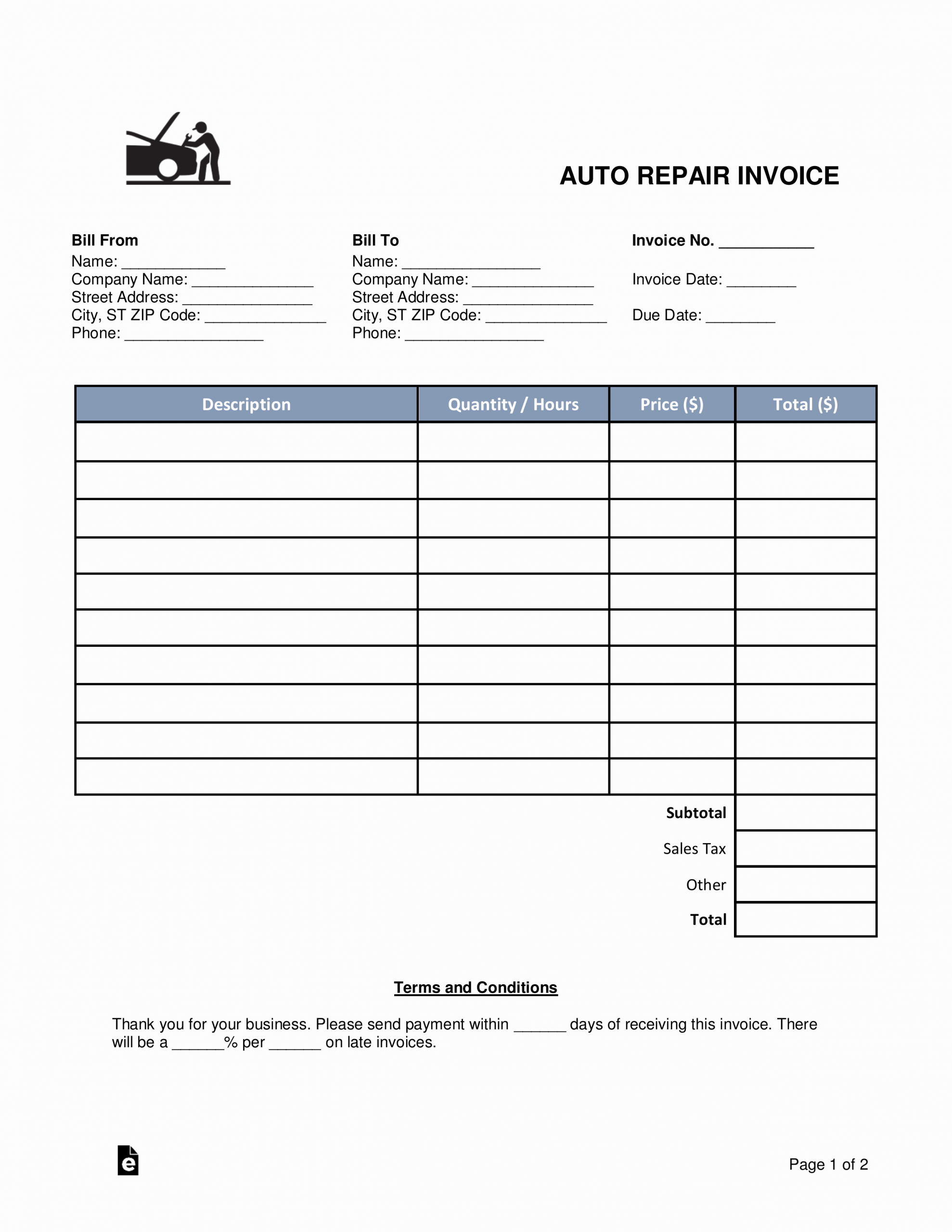 Auto Repair Invoice Template Free Unique Free Auto Body Mechanic Invoice Template Word