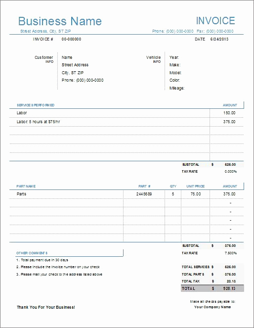Automotive Repair Invoice Template Beautiful 68 Best Images About Free Excel Templates On Pinterest