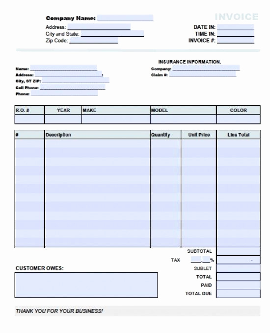 Automotive Repair Invoice Template Best Of Automotive Repair Invoice forms