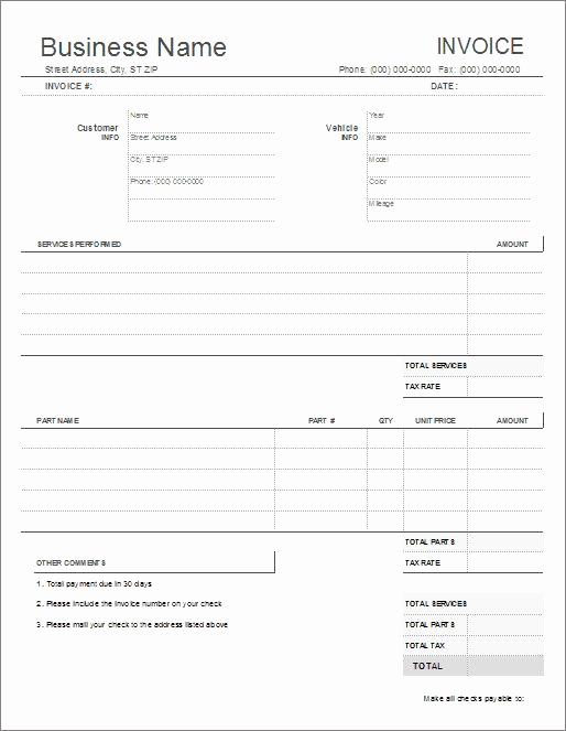 Automotive Repair Invoice Template Lovely Auto Repair Invoice Template for Excel Automotive Repair
