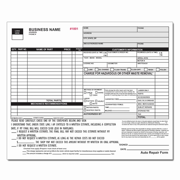 Automotive Repair Invoice Template Unique Auto Repair Invoice