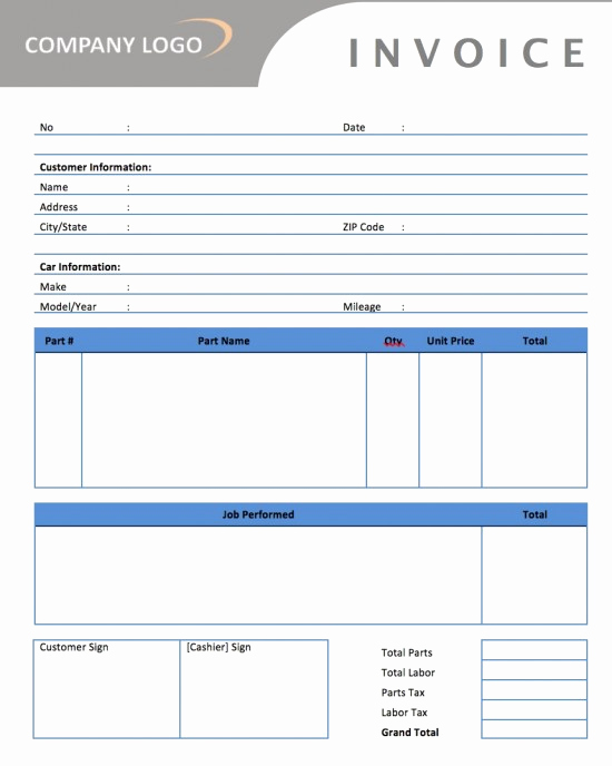 Automotive Repair Invoice Template Unique Auto Repair Invoice Sample
