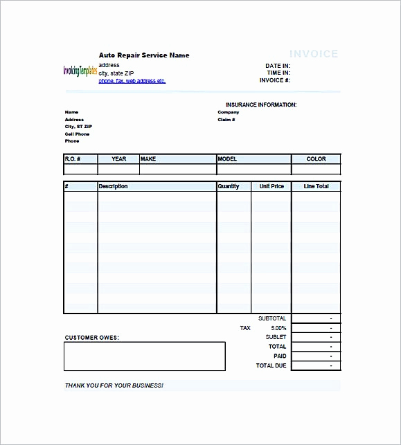 Automotive Repair Invoice Template Unique Auto Repair Invoice Template