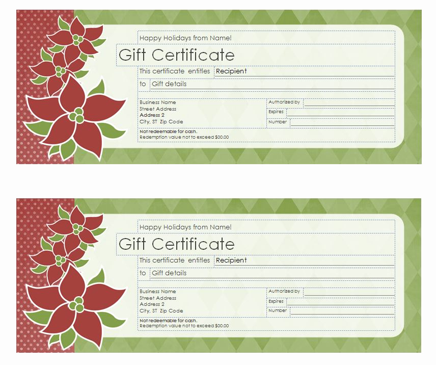 Avery Gift Certificate Template Fresh Christmas Gift Certificate Template