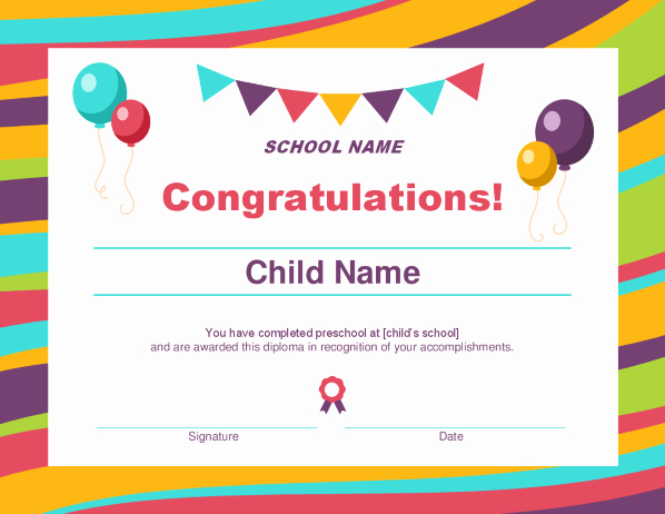 Avery Gift Certificate Template New Preschool Diploma Certificate