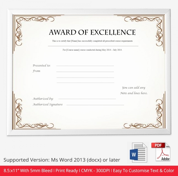Award Certificate Template Free Download Awesome Free Certificate Template 9 Free Word Pdf Documents