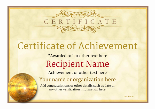 Award Certificate Template Free Download Elegant Certificate Of Achievement Free Templates Easy to Use